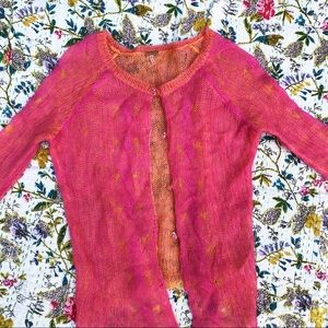 FREE PEOPLE pink orange cardigan